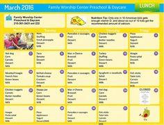 Daycare Lunch Menu | Preschool Lunch Menu | Lansdale Day Care