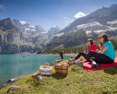Hotel-Restaurant Öschinensee, Switzerland at Lake Oeschinen - Unique in the UNESCO World Heritiage Site Jungfrau Aletsch Alpine Slide, Winter Hiking, Seen, Restaurant, World Heritage Sites, Hiking Trails, Switzerland, Places To See, Scenery