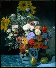 """""""Mixed Flowers in an Earthenware Pot"""" -- Circa 1869 -- Pierre-Auguste Renoir -- French -- Oil on canvas -- Museum of Fine Arts, Boston"""