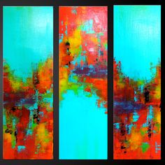 """Abstract contemporary painting, red, orange, yellow, turquoise, black.  """"Carousel"""""""