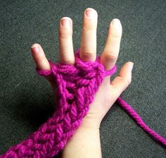 DIY Finger Knitting for kids, get them interested in wool crafts :)