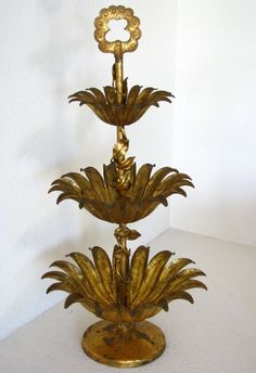 Hollywood Regency gilded metal 3-tier server