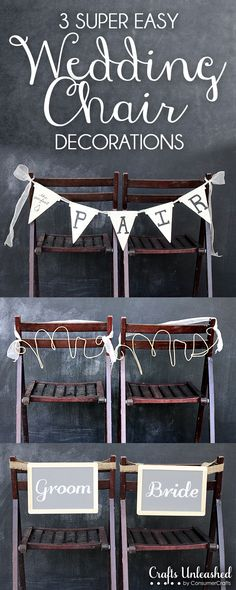 3 Super Easy Ideas to Decorate Your Wedding Chairs! Totally customizable to match your theme. #plumpicks #woodpennantflags