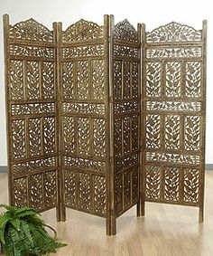 Jali screen ~ this would fit in perfectly with our sheesham themed living room! Changing Screen, Decorative Screen Panels, Dining Corner, Dressing Screen, Pergola, Divider Screen, Wooden Screen, Decoration, Bedroom Decor