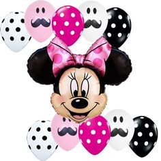 Birthday Party Supplies Pink Mustache Minnie Mouse Disney Foil balloons bouquet #Disney #BirthdayChild
