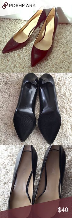 Nine West BLACK Leather Heels These classic heels have a flattering pointed toe. They look as though they have only been worn once. There is only minor wear that's barely noticeable and a tiny hole inside one side where there was a security tag otherwise no scratches on the leather. Great quality and wonderful condition. Nine West Shoes Heels