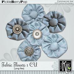 Fabric Flowers 1 CU Digital Scrapbooking Supplies by Kathryn Estry @ PickleberryPop $5.49