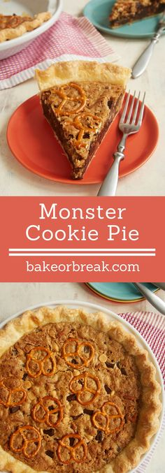 Monster Cookie Pie is jam-packed with all your favorite flavors. Such a fun dessert! - Bake or Break ~ http://www.bakeorbreak.com
