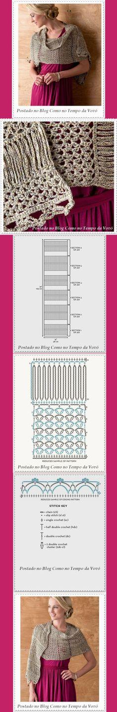 LINDA ECHARPE EM CROCHÊ COM GRÁFICOS ♪ ♪ ... #inspiration #crochet #knit #diy GB http://www.pinterest.com/gigibrazil/boards/