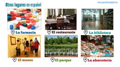 Here are other common places around town in Spanish. We included LA FARMACIA, EL RESTAURANTE and a few other LUGARES. To ask for directions in Spanish, you can use ¿Dónde está + place?, eg. ¿Dónde está la farmacia?