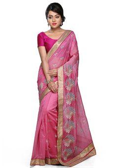 Pink Art Chanderi Silk Saree with Blouse: SAFA58