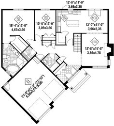 Cottage Plan: Square Feet, 2 Bedrooms, 2 Bathrooms - Great sized pantry for small house. Make small room behind kitchen a laundry room. Make laundry closet part of master closet. Small House Floor Plans, Dream House Plans, Small House Plans, Cottage House Plans, Craftsman House Plans, Cottage Homes, One Bedroom House Plans, Tiny House Cabin, Up House