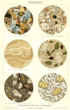 1894 Antique German chromolithograph beautifully illustrated depicting rocks as a microscopic study of minerals. The first picture shows granite from . if i could sketch, this is what i'd do! Mineralogy, Antique Prints, Rocks And Minerals, Natural History, The Rock, Antiques, Artwork, Igneous Rock, Gold Prospecting