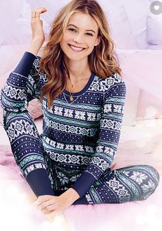 Victoria's Secret Pijama Termal Azul - 2 peças