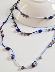 Collar de cadena azul de ganchillo con por GabyCrochetCrafts