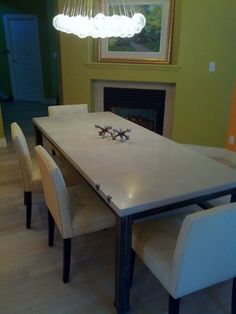 Custom 2Stone CONCRETE!!! Dining Table and Bench on Metal Frame - dining tables - calgary - 2Stone Designer Concrete