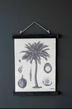 Small Palm Tree with Coconuts Canvas Wall Hanging