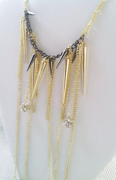 Spikes Crystal Balls and Gold Chain Big Bold Necklace by LUXURA, $49.99