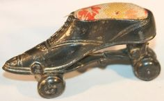 Antique Victorian Metal Roller Skate Pin Cushion; Circa 1850