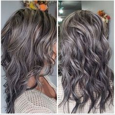 Balayage Blonde Ends - 20 Fabulous Brown Hair with Blonde Highlights Looks to Love - The Trending Hairstyle Brown And Silver Hair, Brown Blonde Hair, Light Brown Hair, Grey Hair For Brown Skin, Blonde Ombre, Grey Hair With Brown Lowlights, Grey Hair Blending, Brown Eyes, Grey Hair Modern