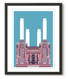 Battersea Power Station, that loveable, four chimneyed giant of the south London skyline; illustrated as part of our 'Multicolour City Icons' series. Available