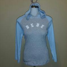 Bebe  Long Sleeve Hooded Tee Comfy hooded tee, two toned blue and gray bebe Tops Tees - Long Sleeve