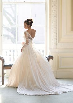 """""""Fleur"""" from the Naomi Neoh 2014 Secret Garden Bridal Collection...delicate layers of silk chiffon over soft pink tulle with a bodice overlay of French lace...."""