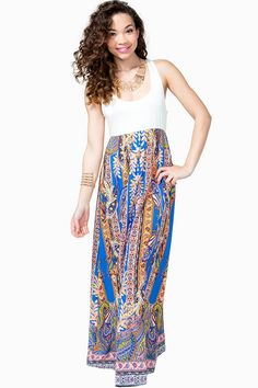 Completely irresistible and casual babydoll maxi dress, featuring a tank top and billowy chiffon floor-length skirt. Ornate paisley print. Sleeveless. Racerback.
