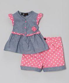 Pink & Gray Polka Dot Tunic & Shorts - Infant, Toddler & Girls