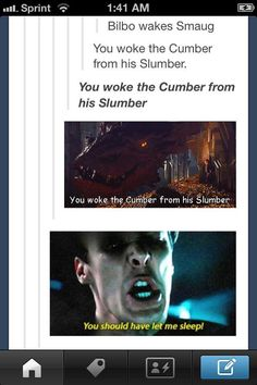 "So this is why Smaug is so grumpy all the time...(I lost it at ""You woke the Cumber from his Slumber"")"