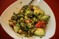 Quinoa Salad with Tomato, lemon, cilantro,chickpeas an Avocado.   Recipe from The Kind Life
