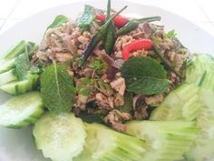 Larb Gai (ລາບໄກ່) is a Lao spicy salad made of minced chicken. This is essentially the same as the Larb Moo recipe (https://www.youtube.com/watch?v=6dD8q6_FFPQ) that I demonstrated back in December, 2011, but using chicken instead of pork.