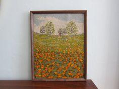 Vintage Needlepoint Embroidery Large Framed by SmythandMelville, $29.00