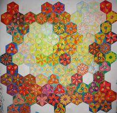 """Puzzle """"O Vôo do Beija-Flor"""" - Pintura em execução IV - giz pastel sobre papel Schoeller. Por Antônia Sobral"""