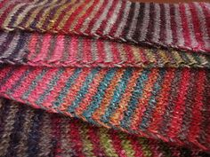 Striped scarf, using 2 alternating colourways of Noro.