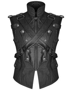 BLACK Mens Real Leather /& Canvas Steampunk GOTH PUNK Waistcoat Vest  MILITARY
