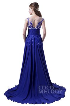 Charming Sheath-Column Illusion Natural Train Chiffon Royal Blue Sleeveless Key Hole Evening Dress with Appliques COKT15003 #cocomelody #prom #dresses