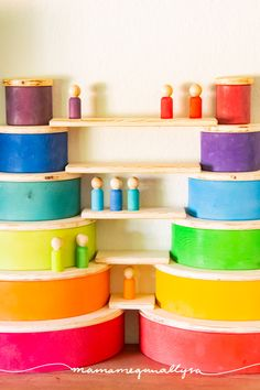 Super Simple DIY Semicircles and Planks for Extra Rainbow Fun - MamaMeganAllysa Rainbow Rice, Wooden Rainbow, Easy Diy, Simple Diy, Super Simple, Wooden Building Blocks, Wooden Blocks, Diy Montessori Toys, Grimms Rainbow