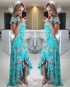 Fırfırlı Elbise Yeşil Uzun Kısa Kollu Asimetrik Kesim Etek Desenli - pionero de la cosmética, alimentación, moda y confección Ruffle Dress, Dress Skirt, Dress Up, Cute Dresses, Beautiful Dresses, Summer Dresses, Mode Hippie, Yeezy Outfit, African Dress