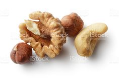 Nuts: Walnut, Hazelnut and Cashew Isolated on White Background royalty-free stock photo