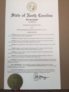 NORTH CAROLINA - Governor Pat McCrory's proclamation recognizing Diaper Need Awareness Week (Sep. 26 - Oct. 2, 2016) #diaperneed diaperneed.org