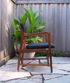 Minneapolis: Mid century walnut Dunbar chair | new upholstery $295 - http://furnishlyst.com/listings/405020