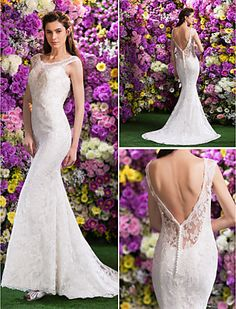 Trumpet/Mermaid Scoop Lace Court Train Wedding Dress(2436372) - USD $ 449.99