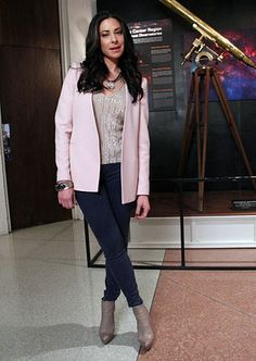 Blazer: Zara, wing-collar pink blazer. zara.com Top: Ambre Babzoe, hammered sequin tank. ambrebabzoe.com Jeans: Blank NYC, regular rise super skinny purple jeans. blanknyc.comhttp://ow.ly/c7kDV #WNTW