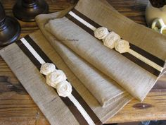 Burlap Table Runner Natural Ivory Brown Rustic от ThrownTogether