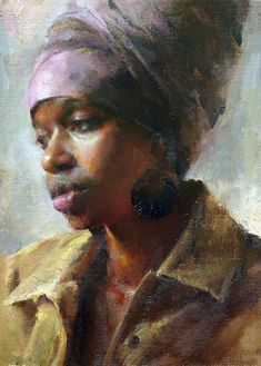 Artist: Mary Qian {contemporary figurative impressionist female head art african-american black woman face portrait painting #loveart} maryqian.com