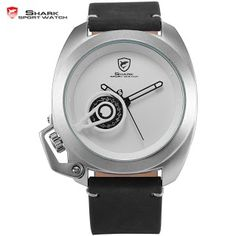 Brand Tawny Shark Sport Watch White Stylish Date Crown-guard Design Leather Band Waterproof Men Gent Military Wristwatch /SH450 (32520984004)  SEE MORE  #SuperDeals