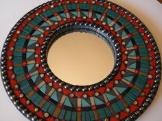Contemporary Red Teal & Black Mosaic Mirror - Original Art