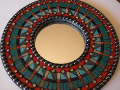Contemporary Red Teal & Black Mosaic Mirror - Original Art