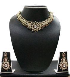Party Wear Set Jewelry Indian Tone BY ZAVERI PEARLS ZPFK603 #ZAVERIPEARLS